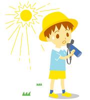 夏 水分補給 帽子 子供