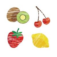 フルーツイラストセット(キウィ、さくらんぼ、いちご、レモン)
