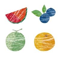 夏のフルーツイラストセット(スイカ、メロン、ブルーベリー、オレンジ)