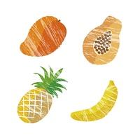 トロピカルフルーツイラストセット(マンゴー、パパイヤ、パイナップル、バナナ)