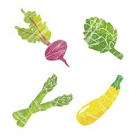 洋野菜イラストセット(ビーツ、アーティチョーク、アスパラガス、ズッキーニ)