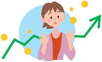 笑顔の女性と上昇する矢印