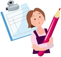 赤鉛筆と書類と女性
