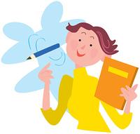 ノートと鉛筆を持つ女性