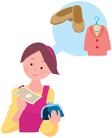 財布とお金を持つ女性