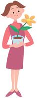鉢植えの花を持つ女性
