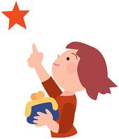 財布を持って星を指差す女の子