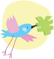 円記号をくわえて飛ぶ鳥