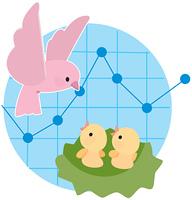 鳥の親子と折れ線グラフ