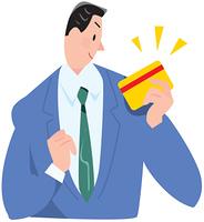 クレジットカードを持つビジネスマン