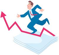 上昇する矢印とビジネスマン