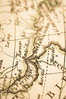 アンティークの世界地図 ペルシャ湾とホルムズ海峡