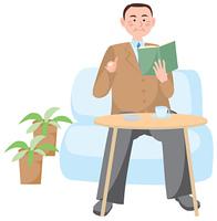 本を読むビジネスマン