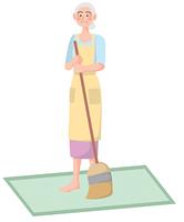 掃除をする年配の女性