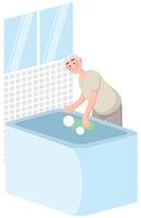 浴槽を洗う年配の男性