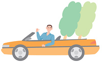 オープンカーに乗る男性