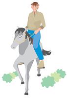 馬に乗る年配の男性