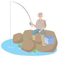 釣りをする年配の男性