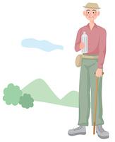 ハイキングをする年配の男性