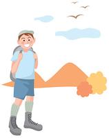 ハイキングをする男の子