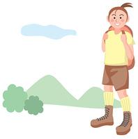ハイキングをする女の子