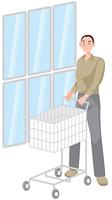 ショッピングカートを押す男性