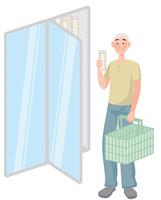 買い物をする年配の男性
