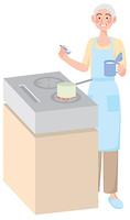 料理をする年配の女性