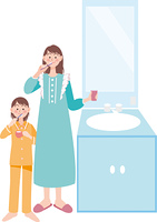 歯を磨く母子