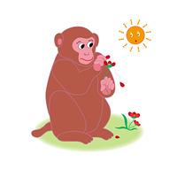 花占いのかわいい赤茶色のサルのイラストPNG素材
