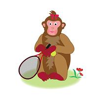 テニスラケットを持った女の子のサルのPNG素材