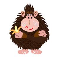 バナナを持ったポップなオスのサルのイラスト