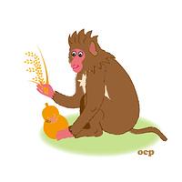 稲穂とひょうたんを持った猿のイラスト