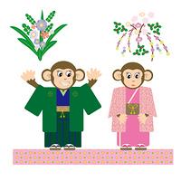 和装のかわいい二匹のサルと花のイラスト