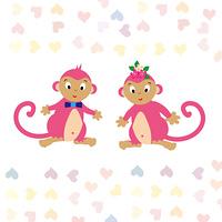かわいい二匹のピンクの子猿とハートのイラスト