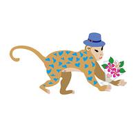 帽子をかぶったハート模様の猿と花束のPNG素材