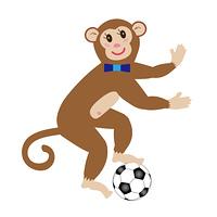 サッカーボールとポップなサルのPNG素材