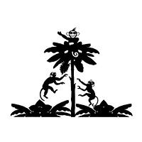 三びきのサルとバナナの木のシルエット素材