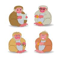 四匹の猿のオヤジのイラスト素材