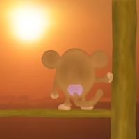 サルと朝日