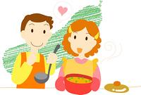 料理を作る夫婦