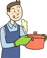 料理を作る男性