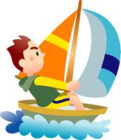 ヨットに乗る男性