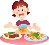 料理を並べる女性
