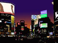 夕闇の渋谷スクランブル交差点