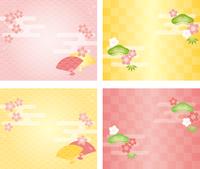 松竹梅と桜の和風背景