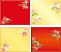松竹梅と梅の和風背景
