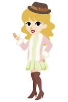 案内する若い女性 冬服 ミニスカート