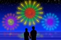 花火とカップル