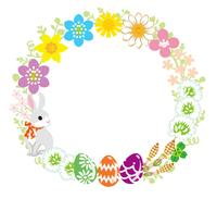 イースターの花輪飾り 白バック